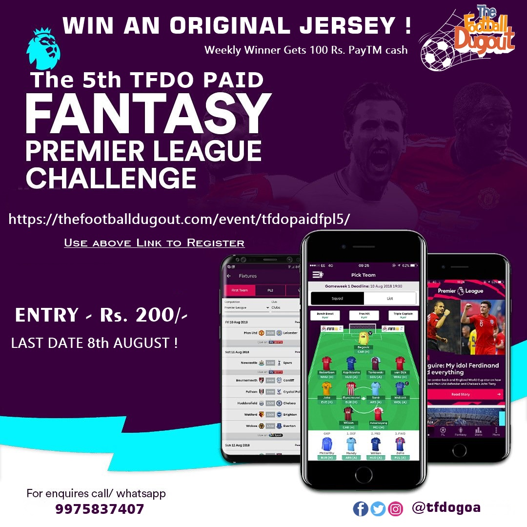 The 5th Football Dug Out paid FPL Challenge - Win an Original Jersey